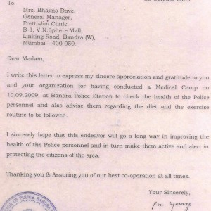 Prettislim-Clinic-Received-Fitness-Camp-Certificate-by-Bandra-Police-Station