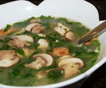 Mushroom-Tofu and Spinach Soup
