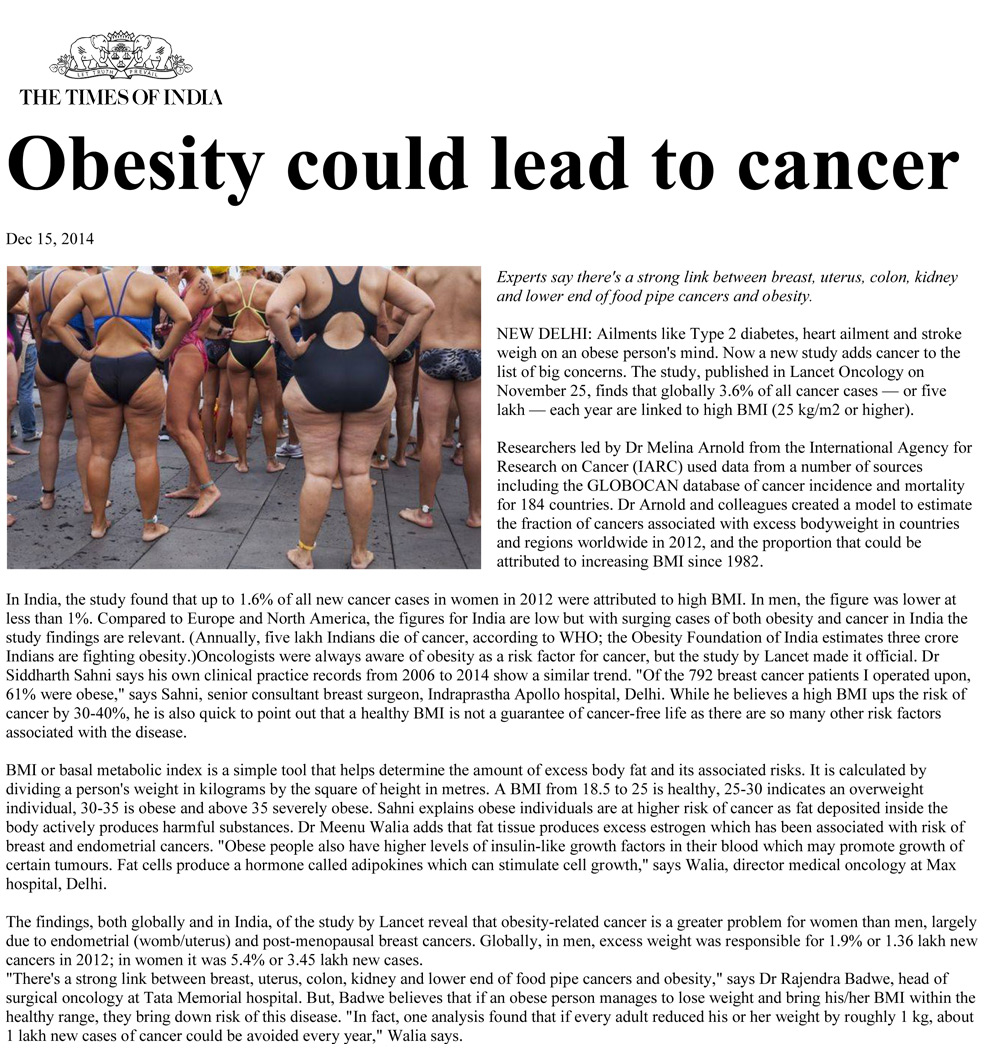 Obesity leads to cancer